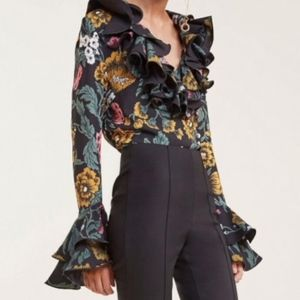 ⭐️NWT⭐️ C/MEO COLLECTIVE  LS Floral Ruffle Top